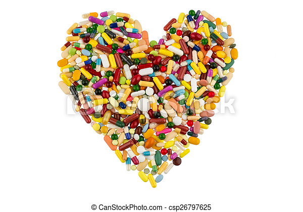 colorful tablets in heart shape - csp26797625
