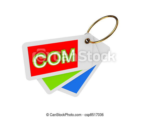 Colorful tags and word COM. - csp8517036