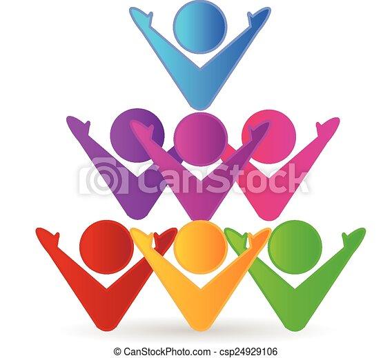 Colorful teamwork business logo - csp24929106