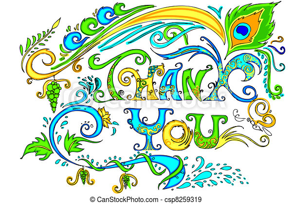 colorful thank you card illustration of colorful doodle of thank