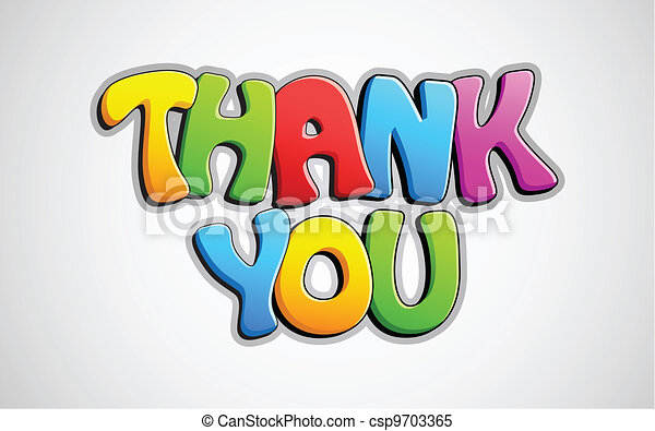 colorful thank you illustration of colorful thank you text on