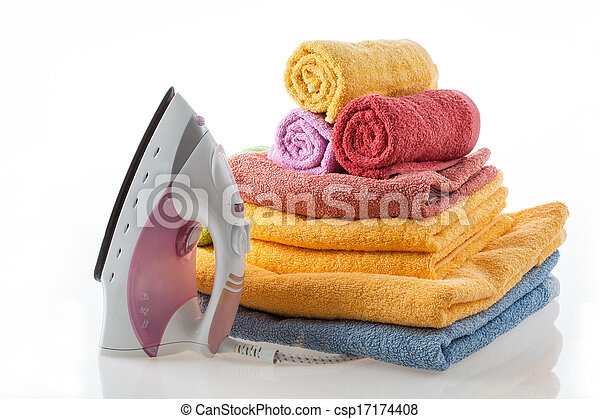 Colorful towels and iron - csp17174408