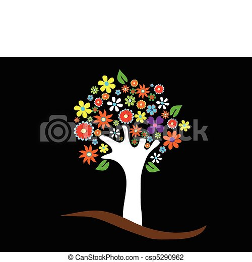 Colorful tree with flowers - csp5290962
