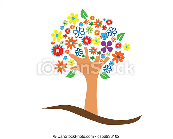 Colorful tree with flowers - csp6936102