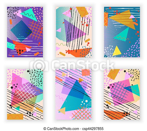 Colorful trendy Neo Memphis geometric poster set. Retro style texture, pattern and geometric elements. Modern abstract design poster, cover, card design. - csp44297855