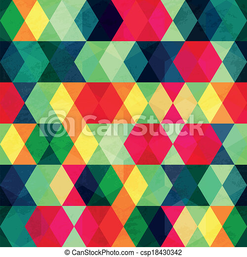 colorful triangle seamless pattern with grunge effect - csp18430342