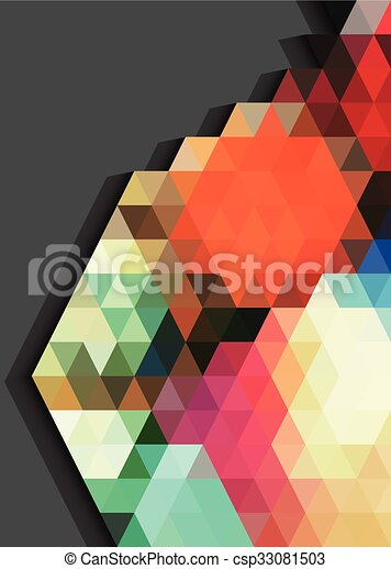 Colorful triangles pattern abstract on gray background - csp33081503