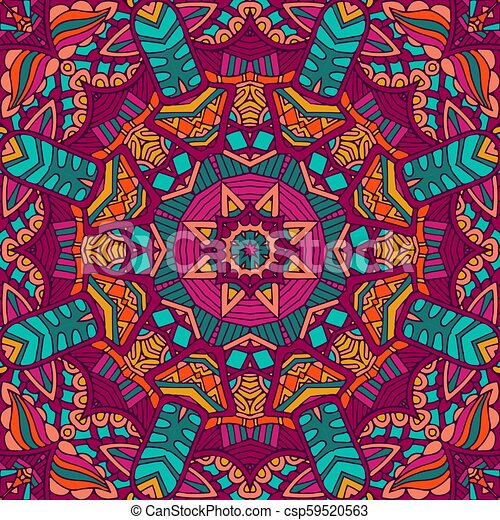 Colorful Tribal Ethnic Festive Abstract Floral Pattern Geometric Mandala Frame Border