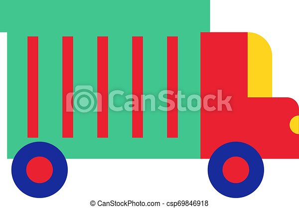 Colorful truck flat illustration on white - csp69846918