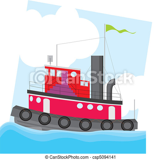 colorful tug boat vector illustration vector clip art search rh canstockphoto com tugboat clipart free cartoon tugboat clipart