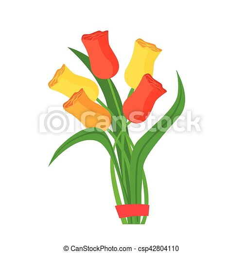 Colorful Tulips Flower Bouquet Tied With Red Ribbon Shop Decorative Plants Assortment Item Cartoon Vector Illustration Natural Floral Composition