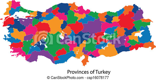 Colorful turkey map Map of administrative divisions of vectors
