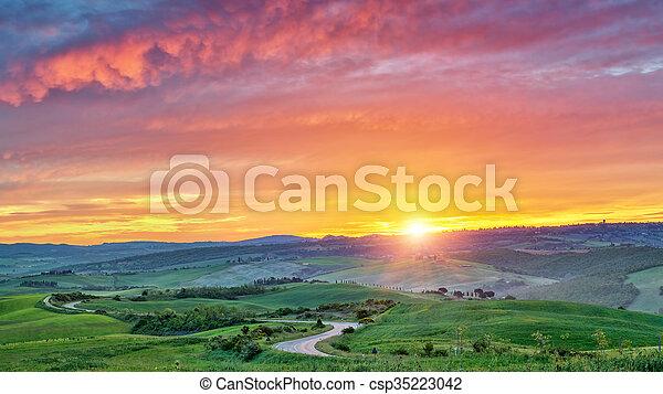Colorful Tuscany sunrise - csp35223042