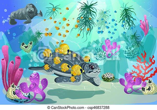 Colorful underwater marine landscape template colorful for Disegno paesaggio marino