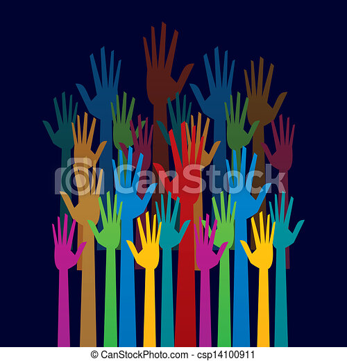 colorful up hand concept  democracy - csp14100911