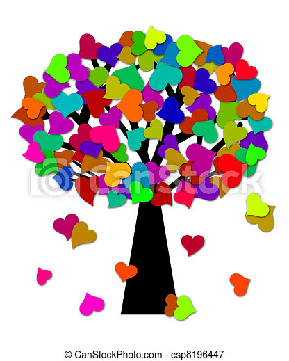 Colorful Valentines Day Hearts on Tree Illustration - csp8196447