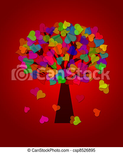 Colorful Valentines Day Hearts Tree Red Background - csp8526895