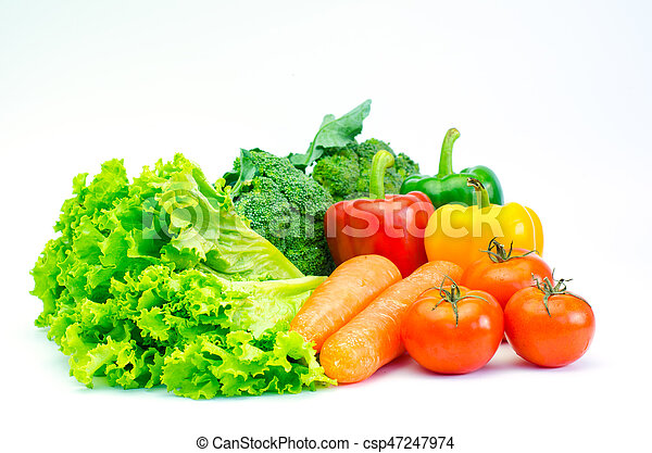 Colorful variety of vegetables for a healthy diet on a white background - csp47247974