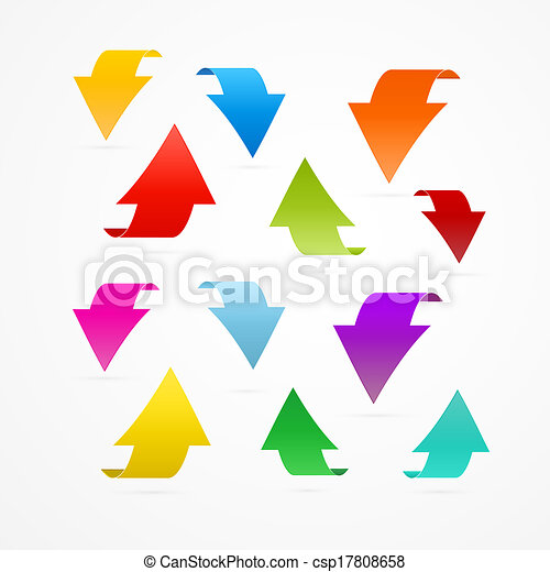 Colorful Vector Arrows Isolated on White Background - csp17808658