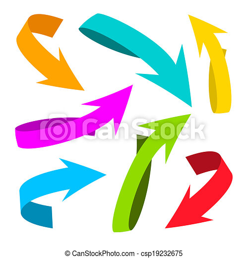 Colorful Vector Arrows on White Background - csp19232675