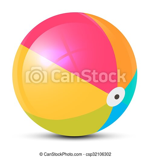 Colorful Vector Beach Ball Isolated on White Background - csp32106302