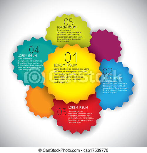 colorful vector design layout template with numbers in sequence. This abstract & simple graphic template includes bright colored gear or cogwheel shaped labels and space for text  - csp17539770