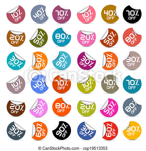 Colorful Vector Discount Stickers, Labels Set - csp19513353