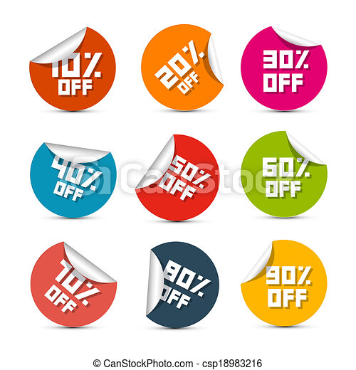 Colorful Vector Discount Stickers, Labels Illustration Set - csp18983216