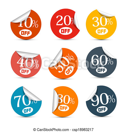 Colorful Vector Discount Stickers, Labels Illustration Set - csp18983217