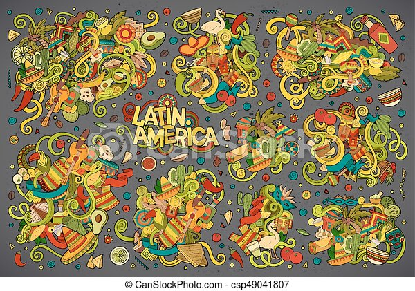 Colorful Vector Doodle Latin American Designs Vector Hand Drawn