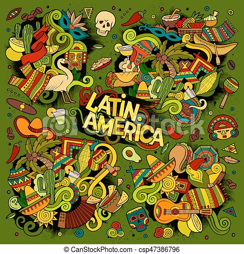 Colorful Vector Hand Drawn Doodle Latin American Objects Vector
