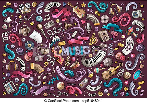 Colorful vector hand drawn doodles cartoon set of Music objects - csp51648044