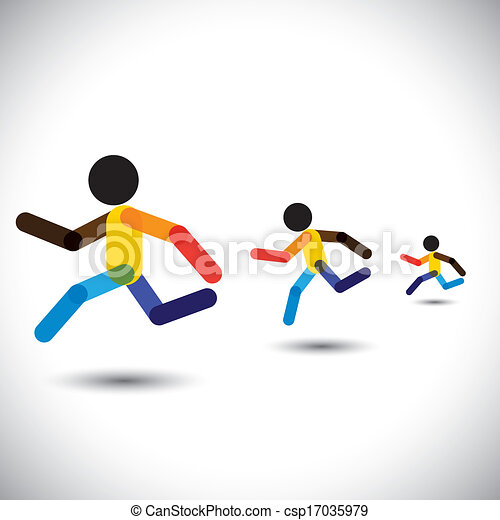 colorful vector icons of sprint athletes racing in a competition. This abstract graphic can also represent person winning the challenge, cardio workouts, health training, running marathon, etc - csp17035979