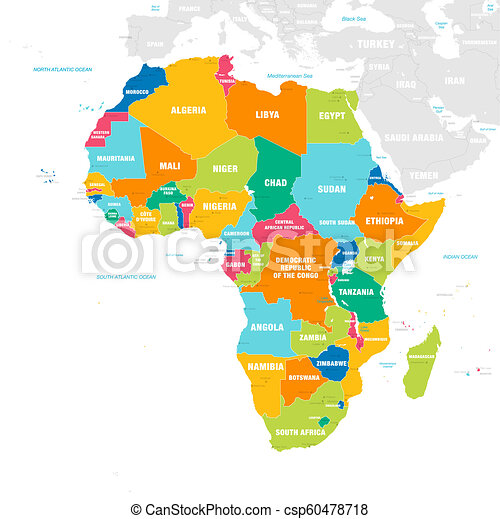 Colorful Map Of Africa.Colorful Vector Map Of Africa