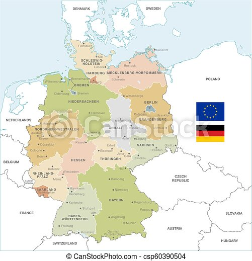 Map Of Countries Near Germany.Colorful Vector Map Of Germany