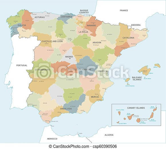 Map Of Spain And Surrounding Islands.Colorful Vector Map Of Spain