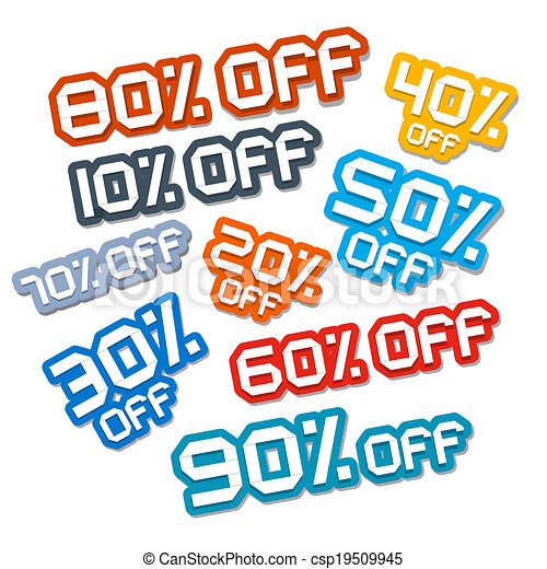 Colorful Vector Paper Cut Discount Stickers, Labels Set - csp19509945