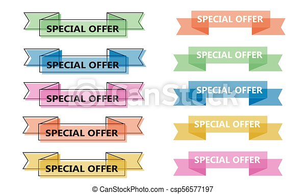 colorful vector ribbon banner collection, trendy flat geometric vivid transparent banners in retro vintage style. Green, blue, orange and yellow design outline variation, text special offer. - csp56577197