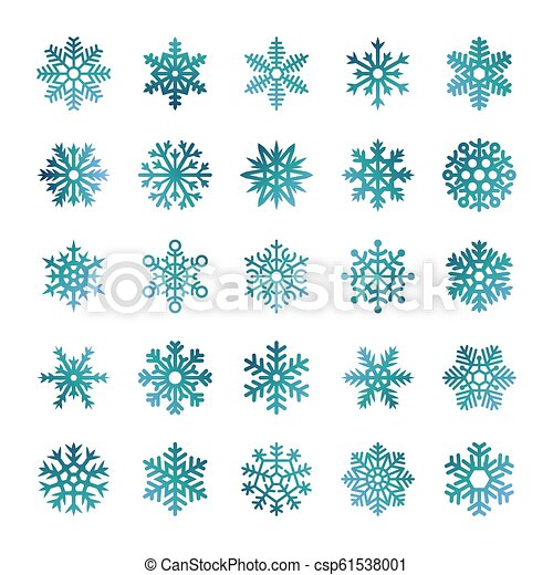 Colorful vector snowflakes isolated on white background - csp61538001