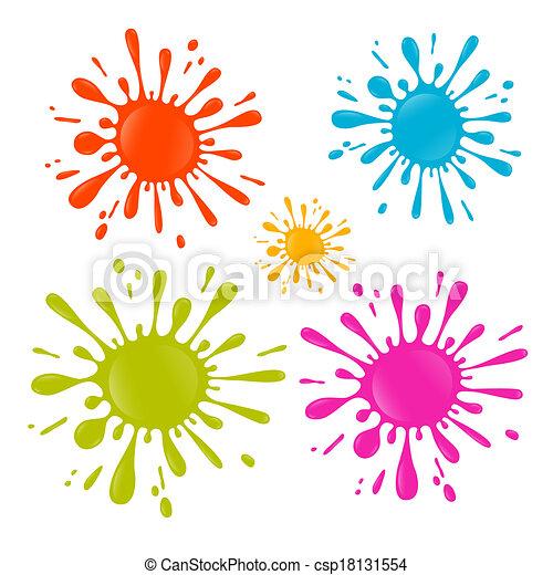Colorful Vector Splash - Stain - Blot Illustration Set - csp18131554