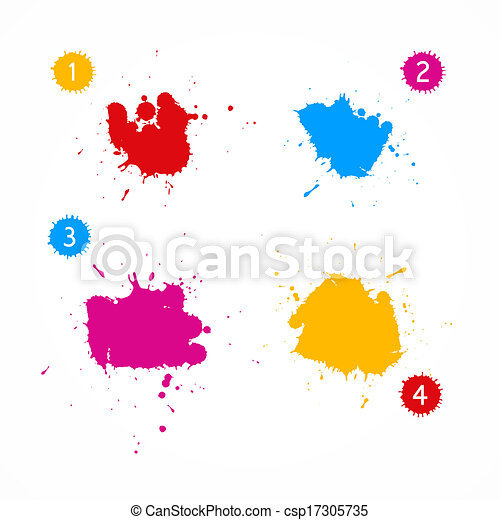 Colorful Vector Splashes Set - csp17305735