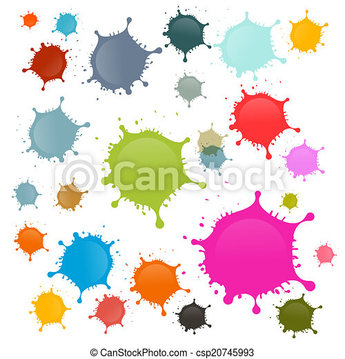 Colorful Vector Stains, Blots, Splashes Set Isolated on White Background - csp20745993