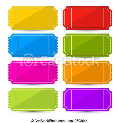 Colorful Vector Ticket Set Illustration  - csp19593644