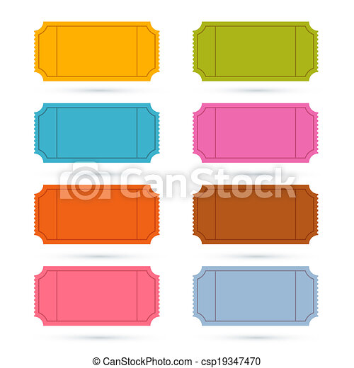 Colorful Vector Ticket Set Illustration  - csp19347470