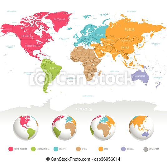 Colorful vector world map high detail vector colorful map colorful vector world map gumiabroncs Gallery