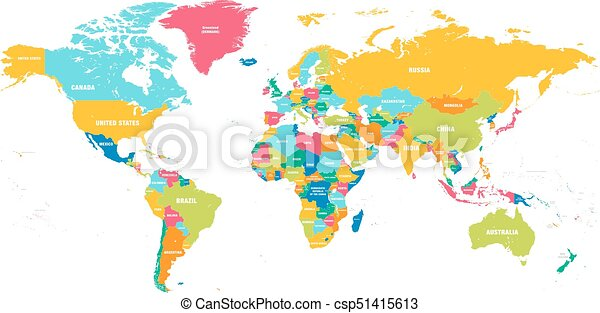 Colorful map of world simplified vector map with country vectors colorful vector world map gumiabroncs Choice Image