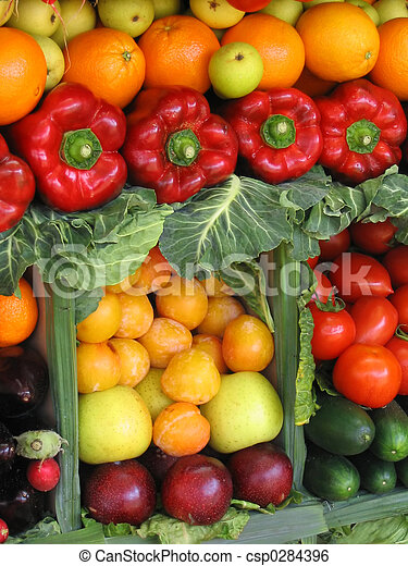 Colorful vegetables and fruits - csp0284396