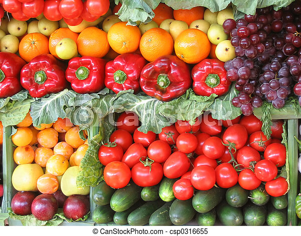Colorful vegetables and fruits - csp0316655