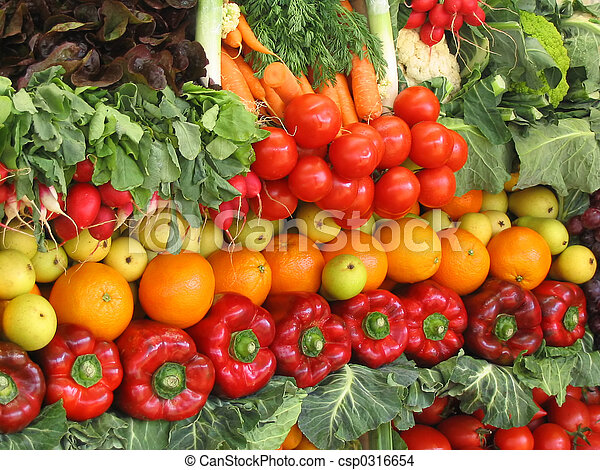 Colorful vegetables and fruits - csp0316654
