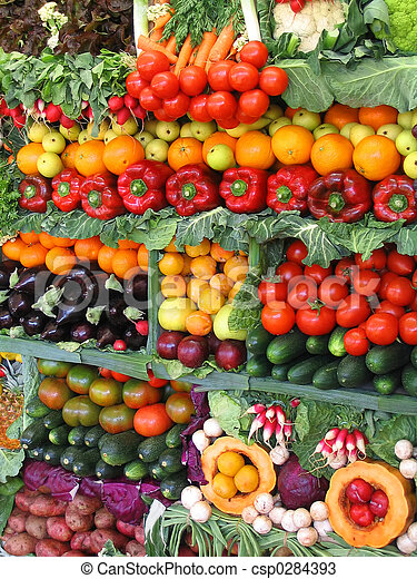 Colorful vegetables and fruits - csp0284393